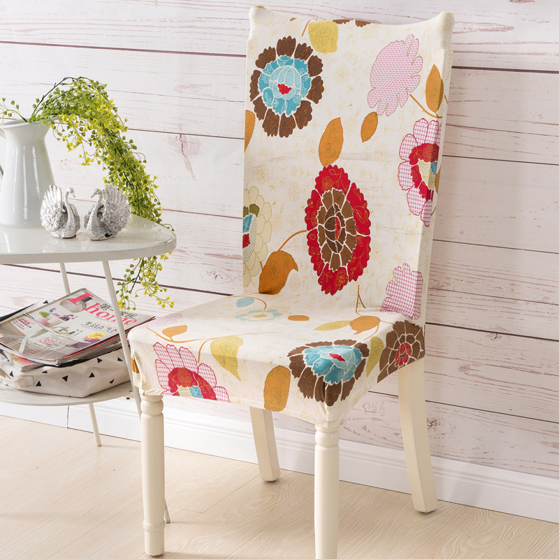 dining room chair slipcovers floral design | Bohemian Spandex Floral Printing Stretch Dining Chair ...