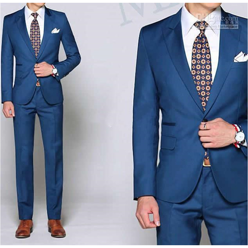 Costume Homme New Arrival Custom Made Groomsmen Suits Peaked Lapel Blue Men Wedding Suits Fashion men suit(Jacket+Pants)