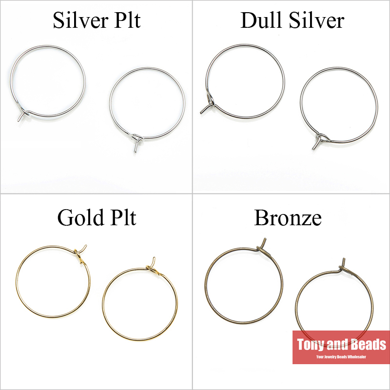(50Pcs=1Lot ! ) Free Shipping Large Round Hoop Earring Finding Hook Gold Dull Silver Bronze Plated For Jewelry Making EW12