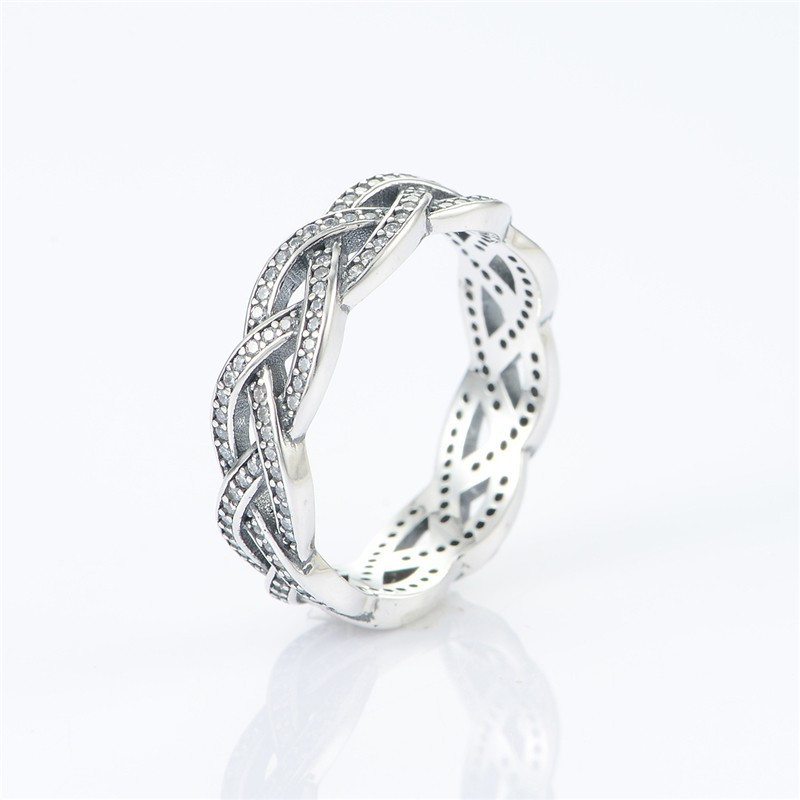 Braided Ring with CZ Compatible with Brand Jewelry Newest 100% 925 Sterling Silver Ring European Women style DIY Fine Jewelry