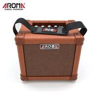 AROMA Caixa de Som Amplificador de 10 W Marrom AG-10A Handy Portátil AMPLIFICADOR de Guitarra Acústica de Som