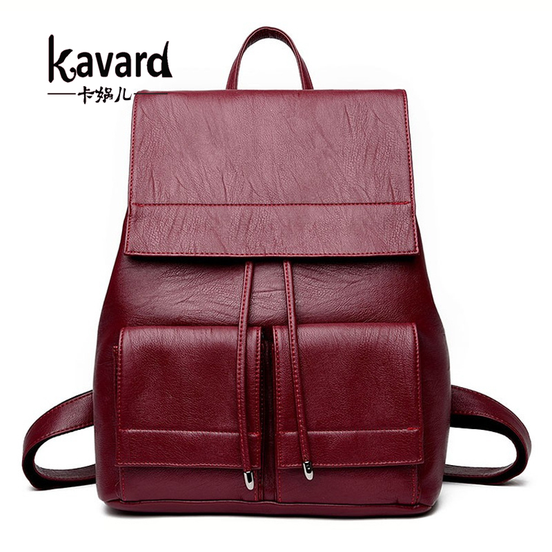 Kavard Backpack Women Leather Backpack Fashion Drawstring School Bags for Girls High Quality mochilas mujer 2017 Famous Brands high grade fashion unique design classic canva rugzak high quality drawstring backpack women shoulder bags small school backpack