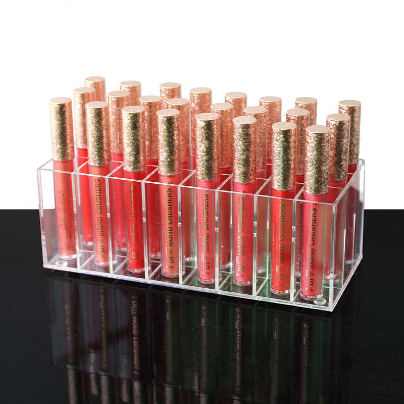 Acrylic Lip Gloss Holder 24 Slots Lipstick Box Display Stand Sundry Storage Box Cosmetic Makeup Organizer Holder