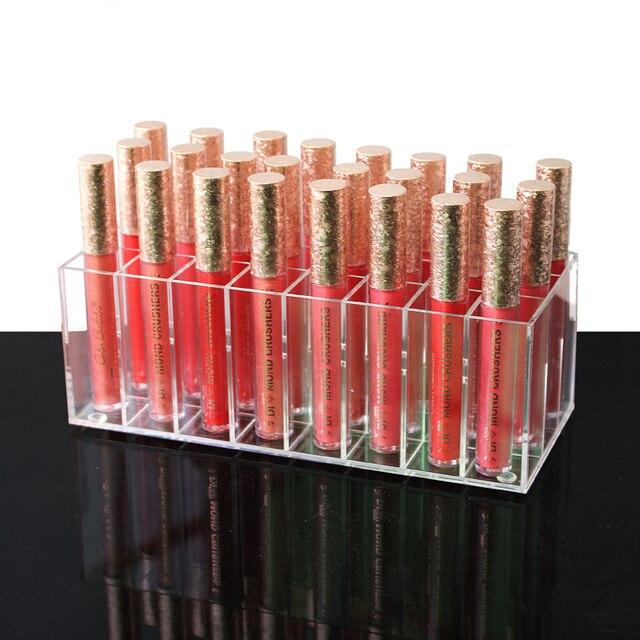 Acrylique brillant à lèvres titulaire 24 fentes rouge à lèvres boîte présentoir divers boîte de rangement cosmétique maquillage support organisateur