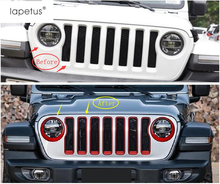 Lapetus Accessories For Jeep Wrangler JL 2018 2019 Front Face Grille Grill & Head Lights Lamp Ring Molding Cover Kit Trim