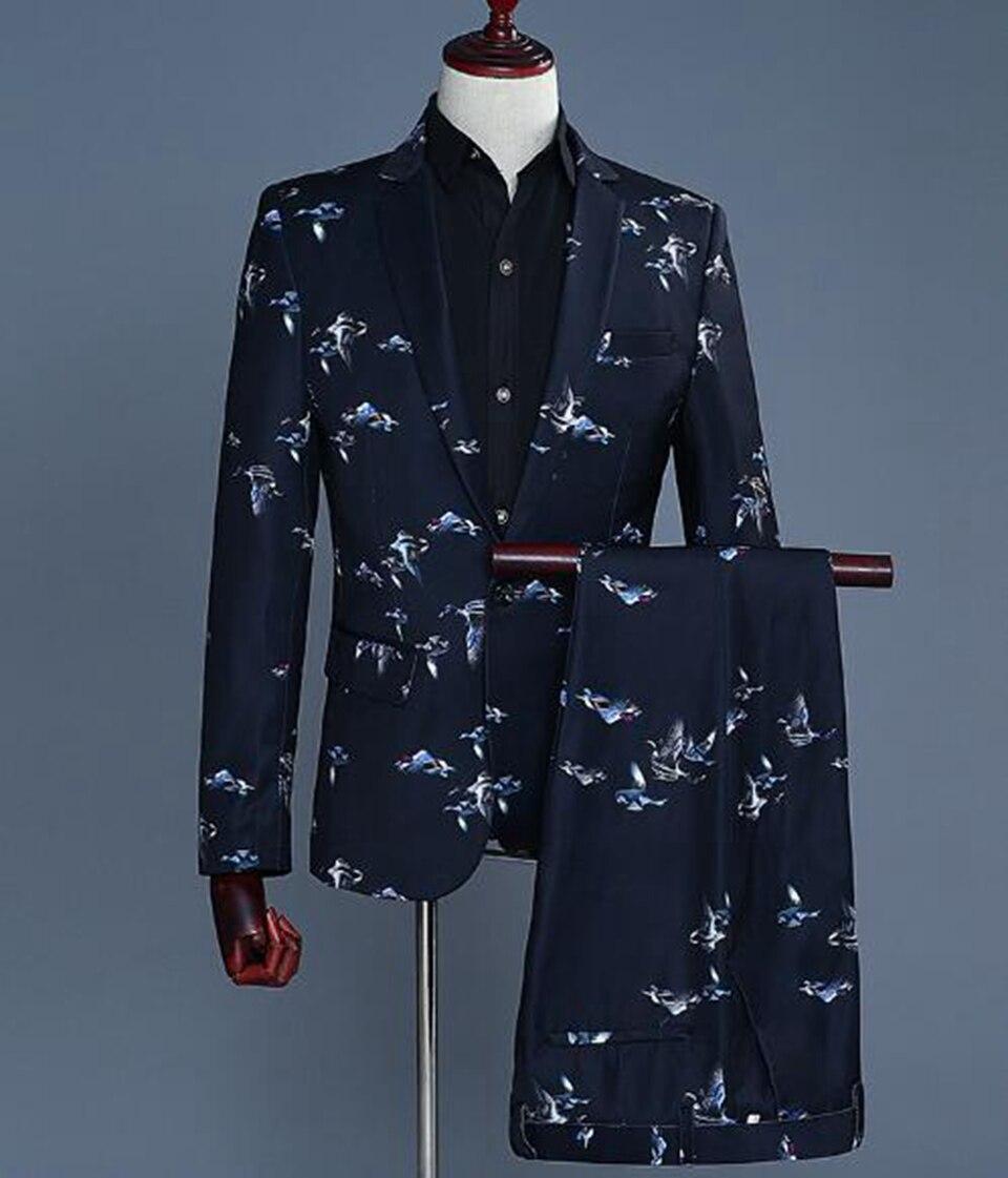 Для мужчин модные и отдыха новой корейской версии мода ночной клуб жениха платья платье для выступлений хост костюм с принтом два костюма/...