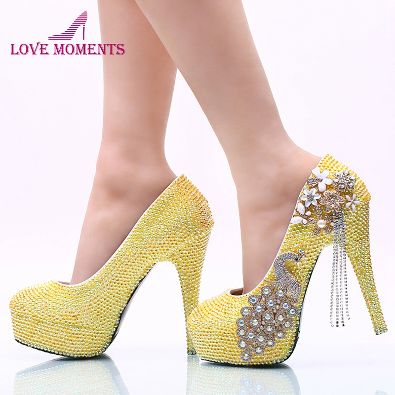 Lemon Yellow Rhinestone Wedding Party Shoes Handmade Bridal Dress Shoes Girl Birthday Party High Heels Prom Pumps Plus Size