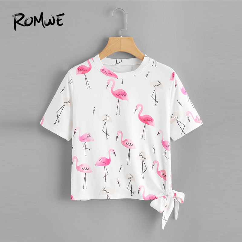ROMWE Knot Side Flamingo Print Tee 2018 Summer Round Neck Animal T Shirt 2018 White Short Sleeve Casual Female Top