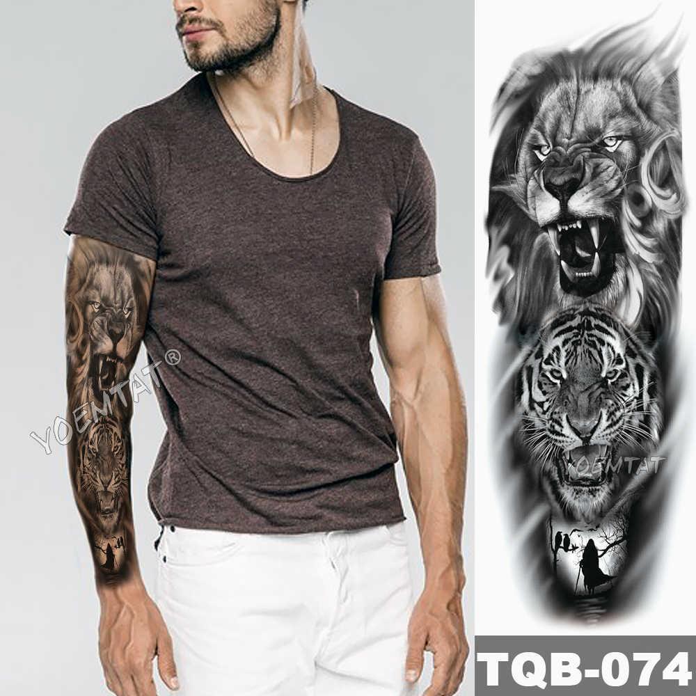 большой татуировки на руку эскиз лев тигр водостойкая временная татуировка