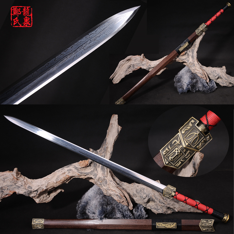 Chinese Sword Double Edges Blade Full Tang Sharp Real Folded Steel Antique Bronze Fittings Home Ornaments/Decoration Han jian