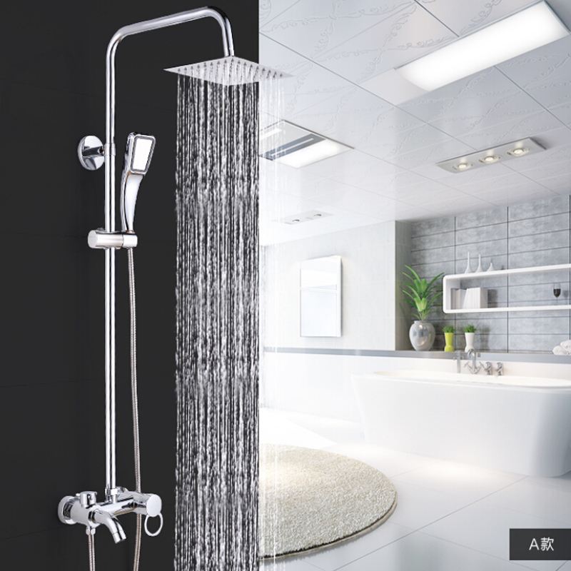 Wholesale And Retail Chrome Finish Square Rain Shower Head Valve Mixer Tap Round Ring Handle W/ Hand Shower wholesale and retail led polished chrome square 20 50cm rain shower head single handle valve mixer tap waterfall tub spout