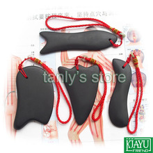 Wholesale & Retail Traditional Acupuncture Massager Guasha massage tool Natural Bian stone 4pieces/set