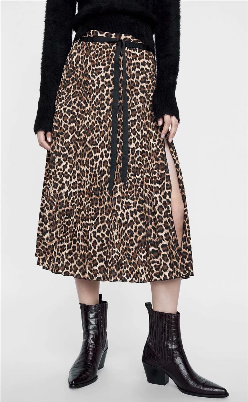 2019 Leopard Pleated Skirt with Bow Belt High Street Women Animal Print Midi Skirts 2