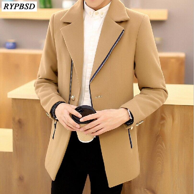 Men Long Winter Coat Fashion Zipper Warm Turn-down Collar Korean Slim Men Woolen Coat Casual Manteau Homme Long Hiver