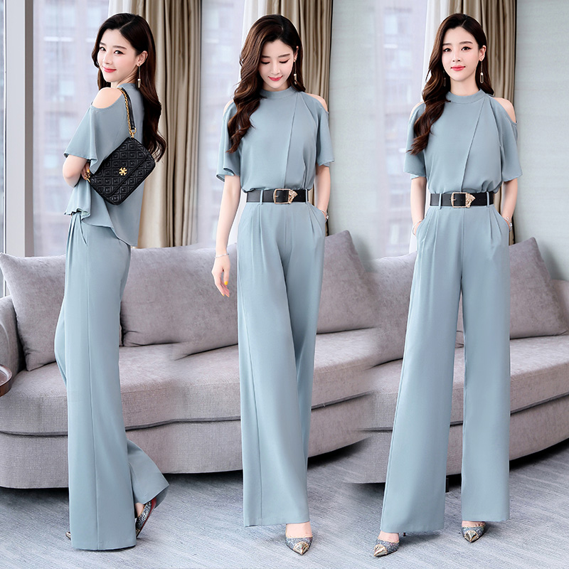 2019 Summer new Women two pieces set elegant Tops blouse and Woman s Wide Leg Pants