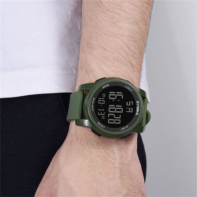 2019 SYNOKE Fashion Sports Brands Men Digital Watch Silicone Strap Pin Buckle Durable Mens Clock Wrist Watches montre homme