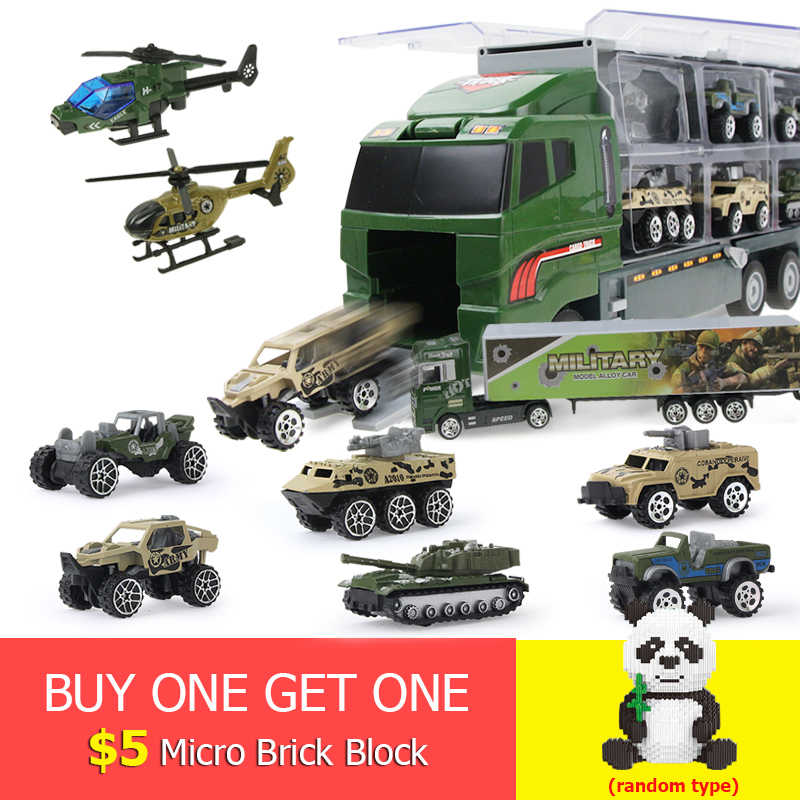 11pcs/set 2in 1 Off-Road Vehicle Mini Military vehicle Diecast  CarrierTruck Model Toy Vehicles with Ejection & Carry Function