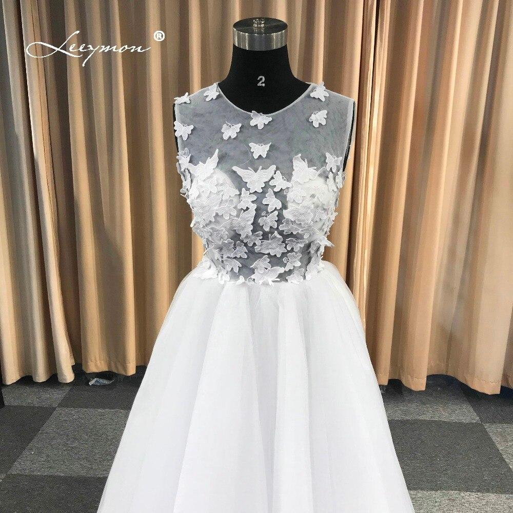 Leeymon Einfache Tüll Brautkleid Schmetterling Spitze Boho ...