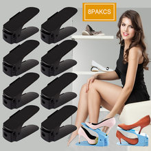 8pcs Adjustab Double Shoe Organizer Modern Cleaning Shoe Rack Shoes Storage Plastic Living Shoes Organizers Shoebox Stand Shelf(China)