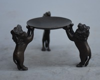 Christmas Folk Chinese Bronze Animal 3 Lion Statue Candle Holder Candlestick Oil lamp Halloween