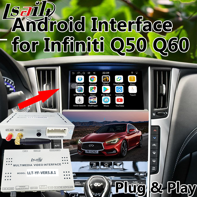 Android Interface Visuelle de Navigation pour 2016-2018 Infiniti Q50 Q60 avec L'APPLICATION waze wifi Mirrorlink etc.