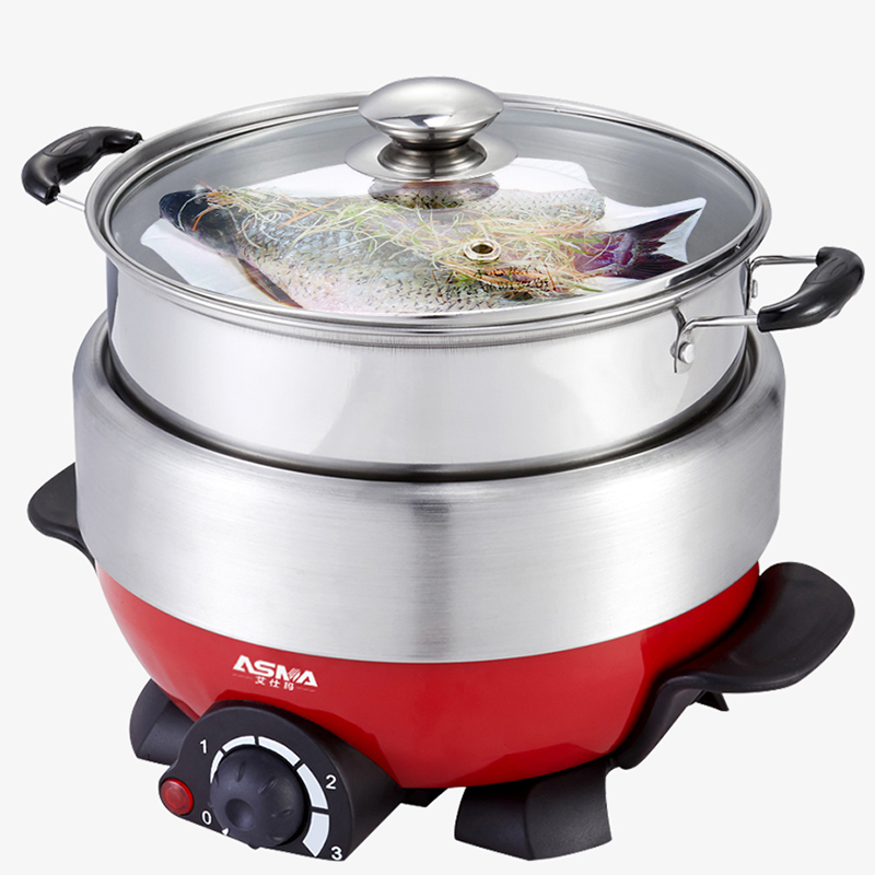 WUXEY Multi - Functional Electric Food Steamer Hot Pot Household 4L Large Capacity Stainless Steel Electric Fryer Split free shipping split hot pot household multipurpose 4l multi cookers