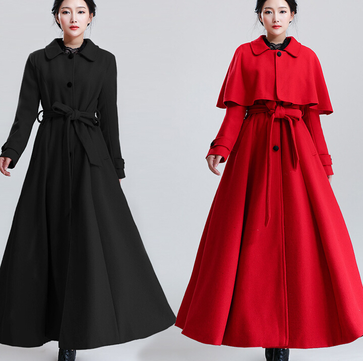 2015 women plus size full length coat mantel winter 6xl wool maxi ...