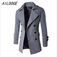 5ba7c5779 AILOOGE 2017 New Fashion Autumn Winter Double Breasted Coats Long Trench  Coat Peacoat Men Overcoat Pea