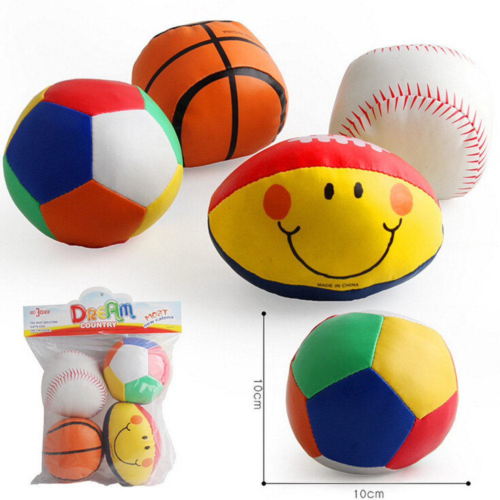 4PC Babys Cotton Soft Ball Football smiling Rugby Squeezed Eduactional Toys Education Toy Baby Toys & Games Children