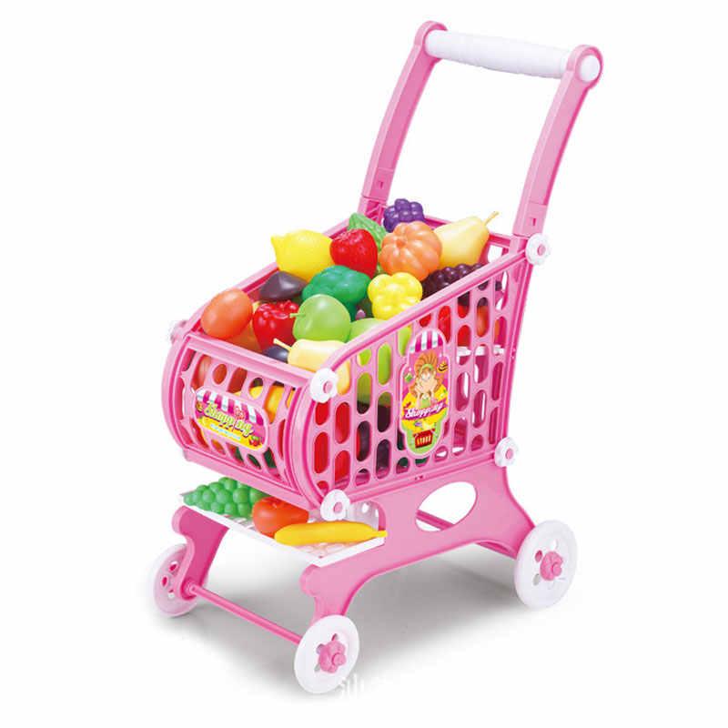Anak Supermarket Keranjang Belanja Mainan Gadis Bermain Simulasi Keranjang dengan Buah dan Sayuran Versi Besar Hadiah Mainan untuk Anak-anak