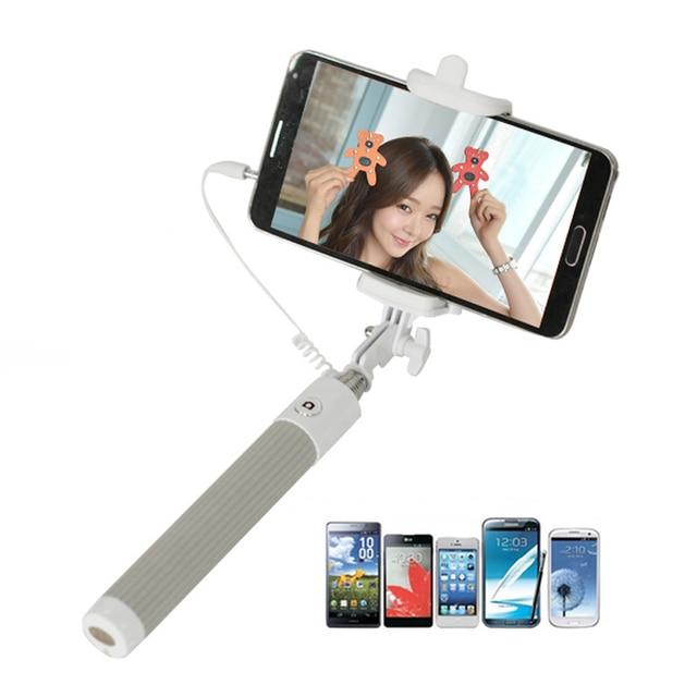 100ピースジャック3.5クリックホルダーポールフレーム釣りミニ拡張可能なハンドヘルド三脚一脚有線selfieスティック用iphone 6 s 6プラスサムスンxiaomi