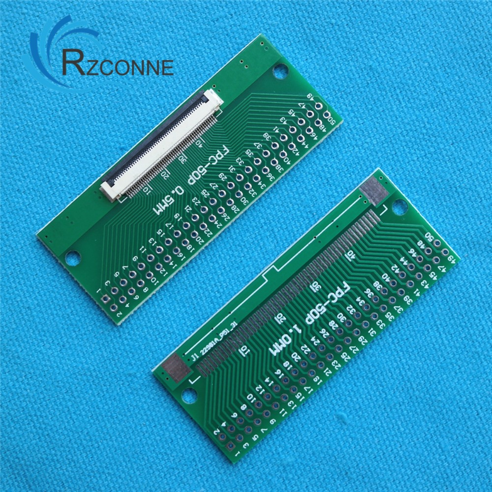 3pcs 50-Pin FPC Connector to DIP Breakout Board 0.5mm 1mm Pitch