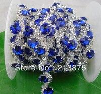 Gratis verzending 1 Yard 10mm saffierblauw kristalglas strass zilveren ketting klauw Applique trouwjurk Bruiloft Decoratie