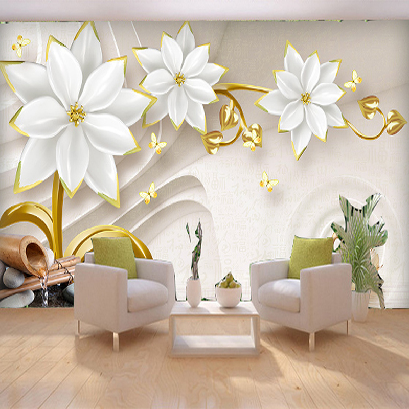 Custom Any Size Photo Background Wall Murals Soft Large Flower Wall  Covering BedRoom Wall Murals Modern WallPaper Home Decor In Wallpapers From  Home ... Part 39