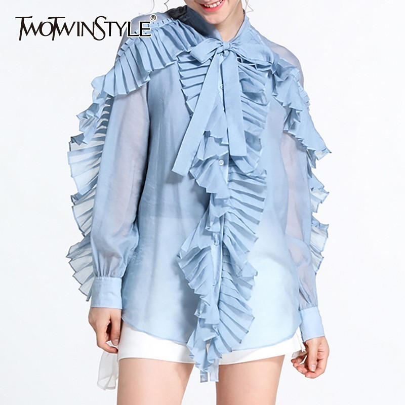TWOTWINSTYLE Summer Perspective Shirt For Women Bowknot Collar Long Sleeve Pleated Ruffles Blouse Female Fashion 2019 New