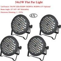 4Pcs/Lot DMX Control LED Par 54x3W RGBW/RGBWA/RGBWA UV Optional LEDs DMX Channels LED Flat Par Light Professional DJ Equipment
