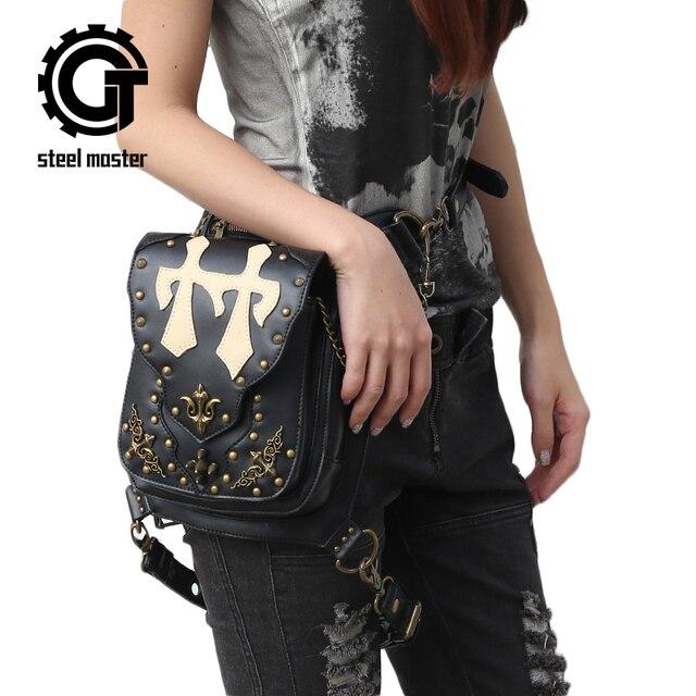 d9a02ee77ca9b Vintage Retro Rock Taschen Männer Frauen Gothic Leder Umhängetasche Schwarz  Nieten Steampunk Motorrad Bein Taille Taschen