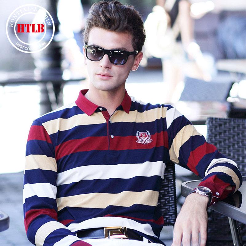 Brand New Autumn Spring men's Long sleeve Polo shirt brand men's striped knit small lapel men's casual men's Polo shirts A8801