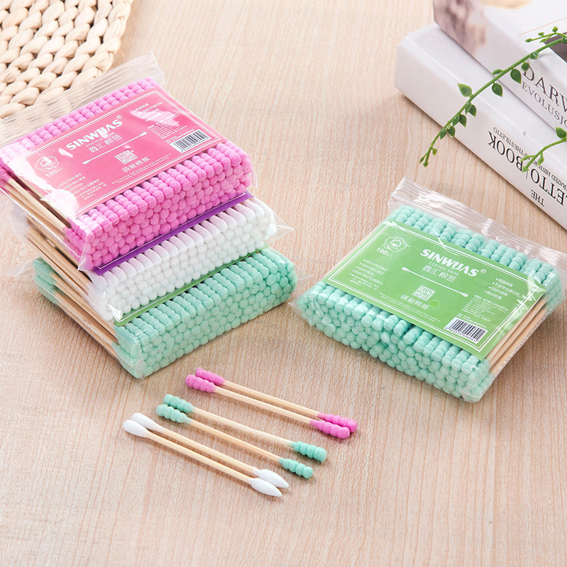 100Pcs/Pack Double Head Cotton Swab Nose Ears Cleaning Medical Sticks Women Cosmetic Makeup Cotton Buds Tip Health Care Tools