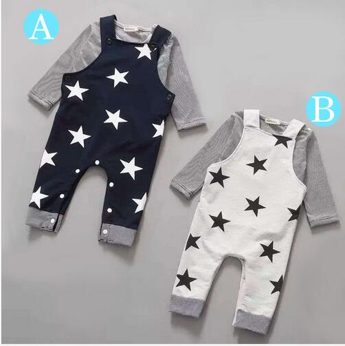 b108f8902db17 Retail 2018New 2pcs Long sleeve + suspenders baby boy girl clothes  cotton100% Autumn long sleeve straps star infant boy clothing