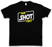HAN SHOT FIRST T-SHIRT Red Star Allianz Imperium Five Wars Wing Skywalker Cartoon Print Short Sleeve T Shirt Free Shipping