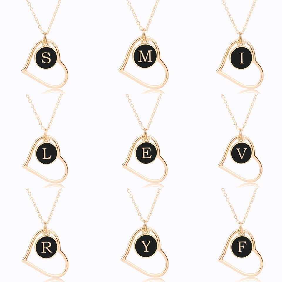 Bonito A-Z inicial preto pingente redondo para mulher ouro 26 letras colar duplo lado amor coração colares & pingentes presentes dos amantes