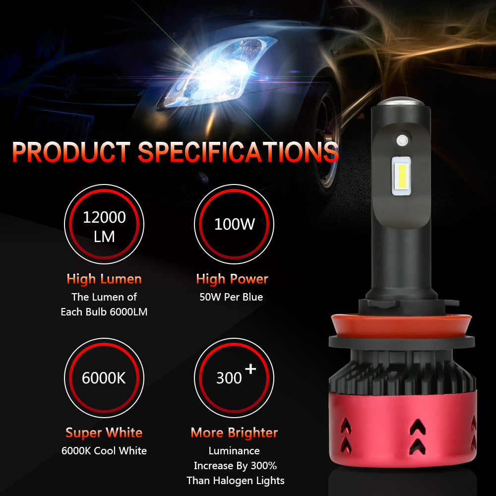 Zdatt Mini 100W 12000Lm H8 H9 H11 Led Bulb 9005 HB3 9006 HB4 Car Light Headlight CSP Flip 12V Automobiles 6000K Turbo Fan Bulb