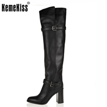 Free shipping over knee genuine leather high heel boots women fashion winter warm footwear shoes R5391 EUR size 31-45