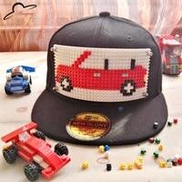 Dibujos Animados niños mosaicos DIY ladrillo juguete béisbol bebé ajustable sombrero plano SnapBack Hip Hop cap