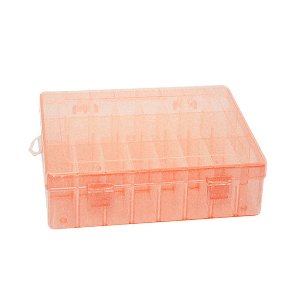 HOT selling multi function Hard Plastic Plastic 24 Slots Adjustable Jewelry Storage Box Case Craft Organizer Beads high quality