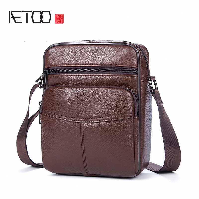 AETOO Leather men bag brand Europe and the United States solid color men shoulder bag head layer of leather Messenger bag tide europe and the united states classic sheepskin checkered chain tide package leather handbags fashion casual shoulder messenger b