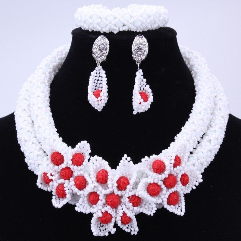 Замечательный белый Африканский Бусины комплект ювелирных изделий с цветами ручной работы нигерийской свадьбы Бусины Биб Цепочки и ожерелья комплект Для женщин ювелирные изделия