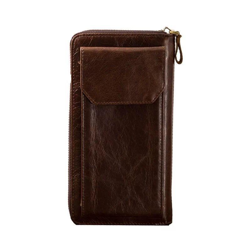 bit Brieftasche Brown Wachs card Rindsleder Leder Reißverschluss Öl Alacchnv Geldbörse Retro Männer Erste Schicht 0007d Multi Langen Hand Absatz xzRU4w6