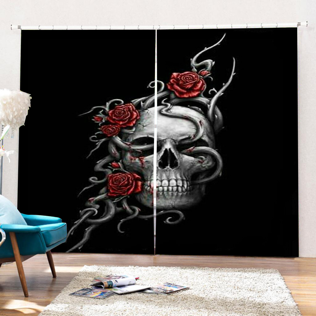 Skull Curtain Modern Blackout Curtain Windows Curtains For Living Room Valance Country Decor French Window Full Light Shading